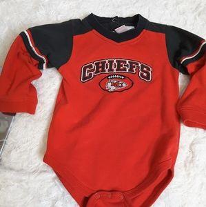 3/$30 Kansas City Chiefs  NFL red onesie sz18 mos